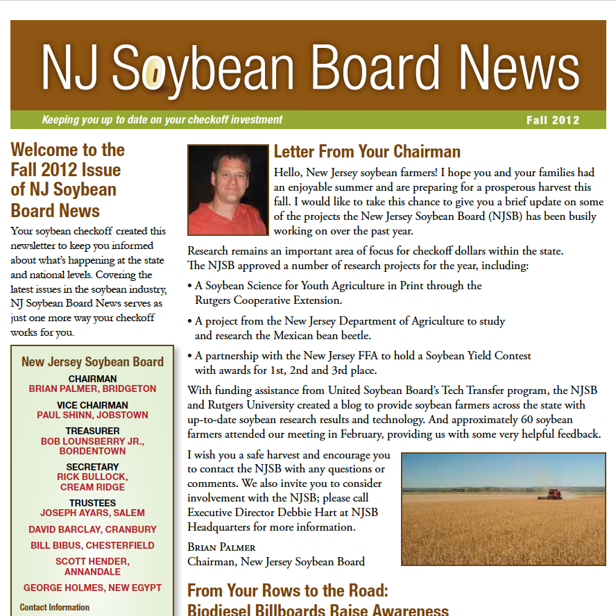 Fall 2012 NJ Soybean Board News