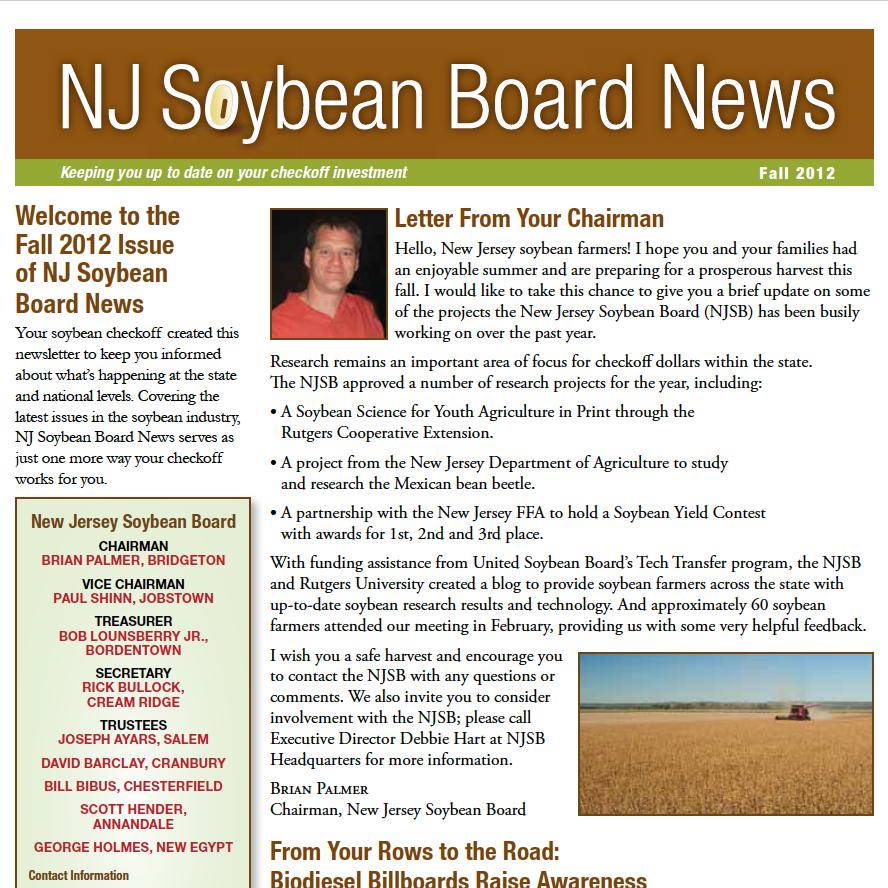 Fall 2012 NJ Soybean Board News