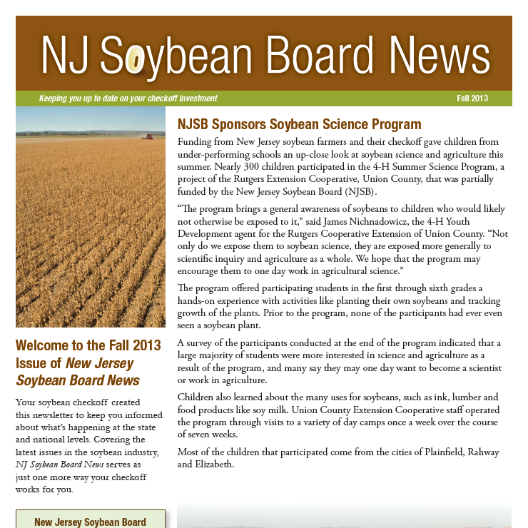 Fall 2013 NJ Soybean Board News