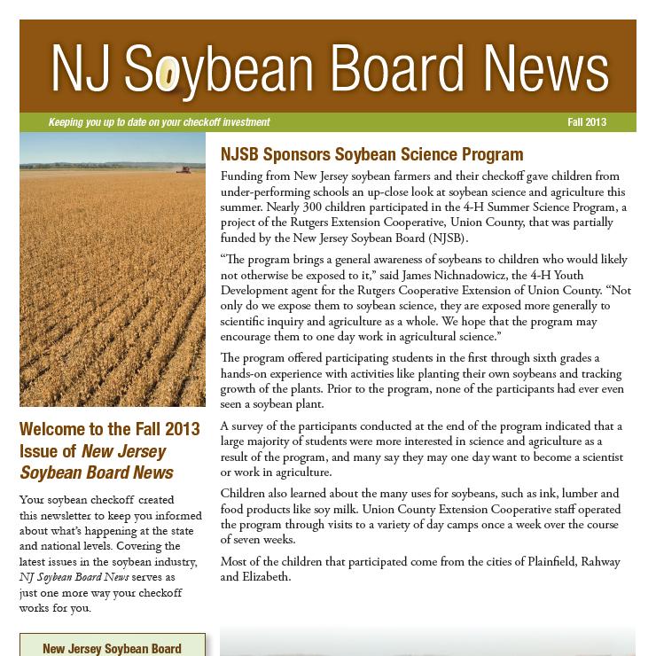 Fall 2013 NJ Soybean Board News