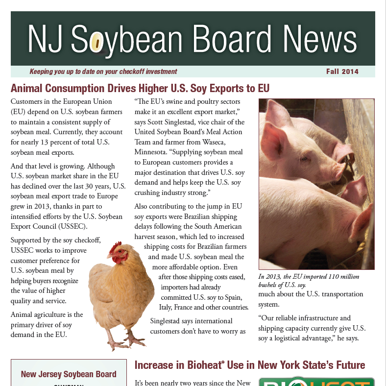 Fall 2014 NJ Soybean Board News