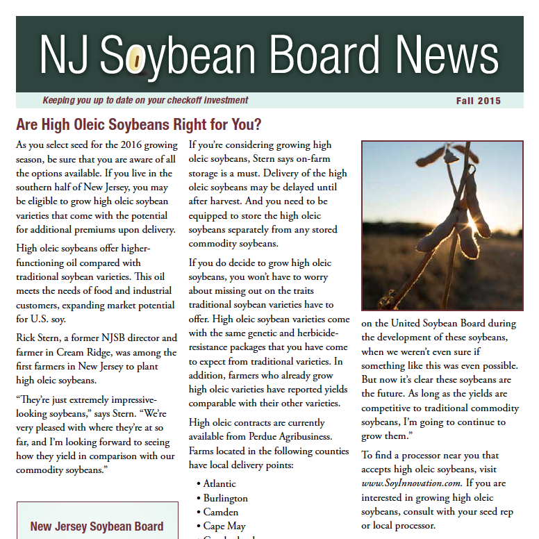 Fall 2015 NJ Soybean Board News