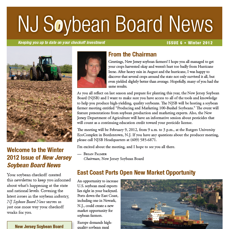 Winter 2012 NJ Soybean Board News