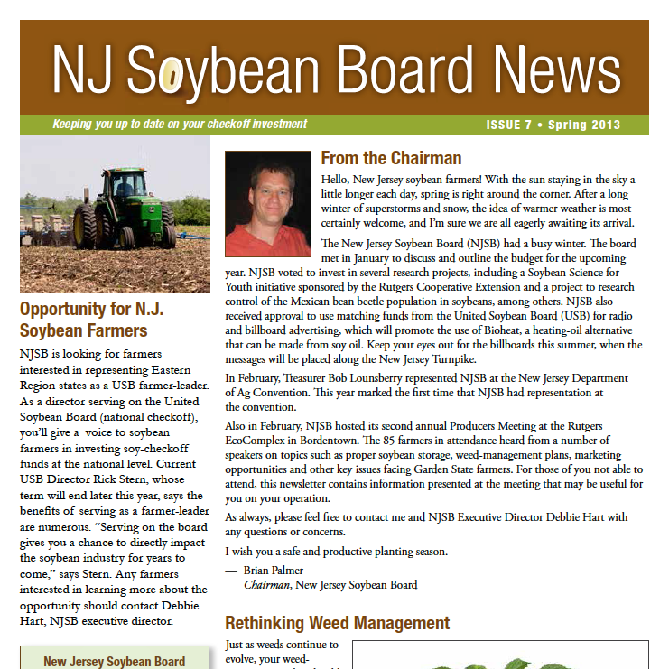 Winter 2013 NJ Soybean Board News