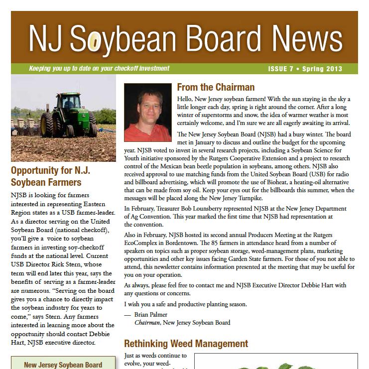Winter 2013 NJ Soybean Board News