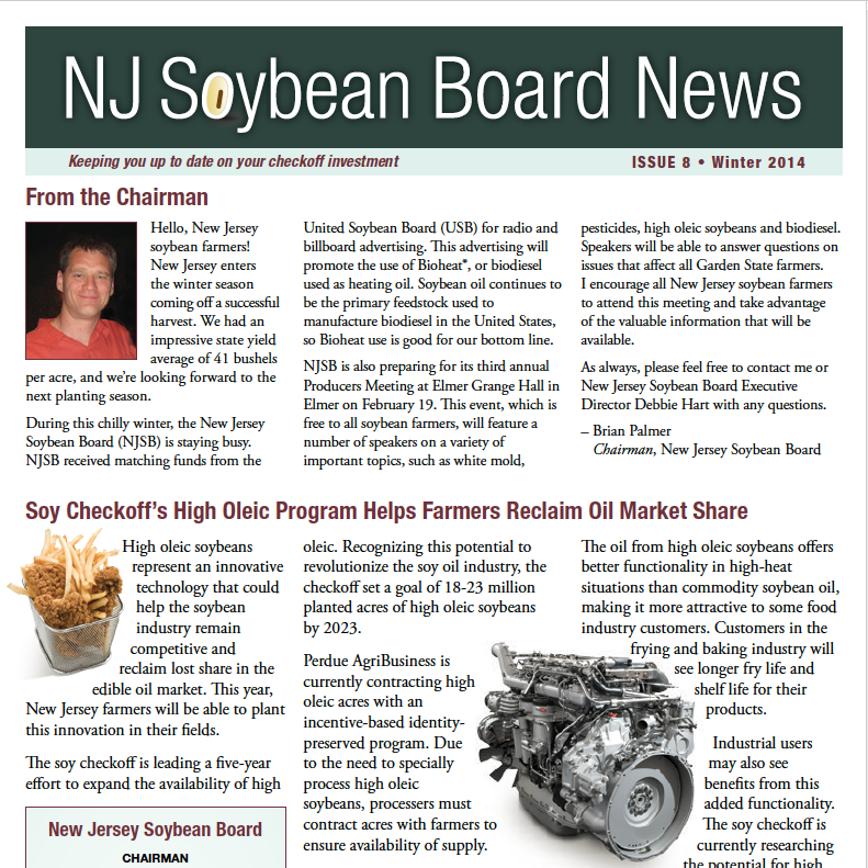 Winter 2014 NJ Soybean Board News