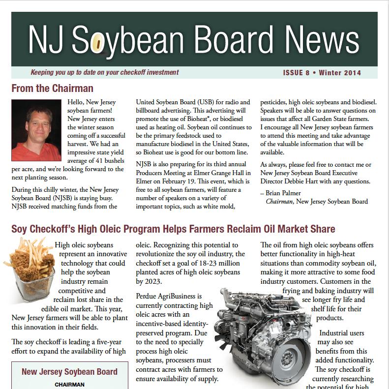 Winter 2014 NJ Soybean Board News