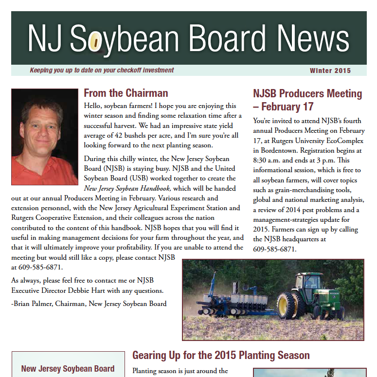 Winter 2015 NJ Soybean Board News