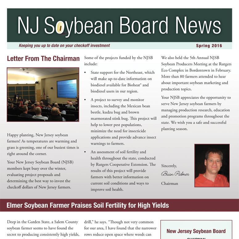 Spring 2016 NJ Soybean Board News