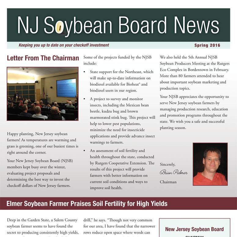 Spring 2016 NJ Soybean Board News